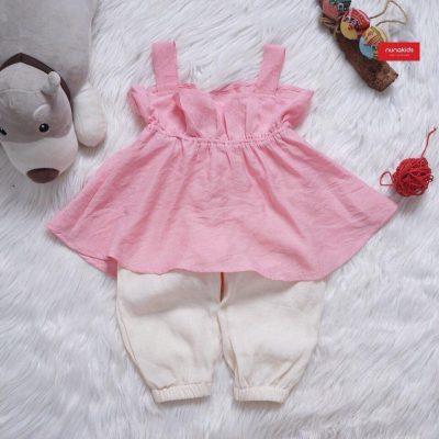 Bộ quần áo đũi Linen cao cấp bé gái màu hồng