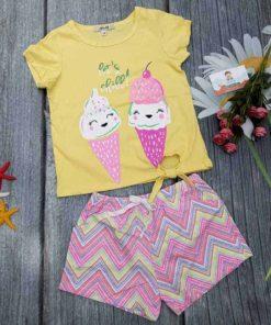 Bộ Bé Gái H&M Áo Thắt Nơ Màu Vàng