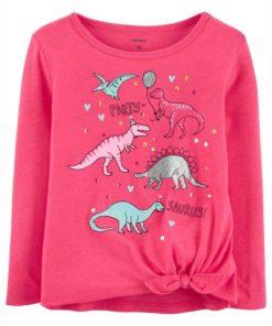 Áo thun bé gái dài tay xuất khẩu hãng Carter's khủng long hồng xinh xắn