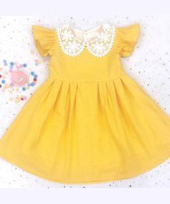 Đầm công chúa màu vàng cao cấp