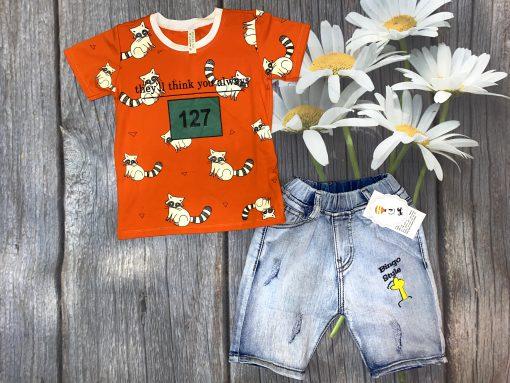 Bộ jean cao cấp cho bé trai (màu cam)