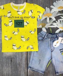 Bộ jean cao cấp cho bé trai (màu vàng)