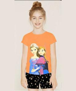Bộ quần áo bé gái Disney họa tiết Elsa (cam)