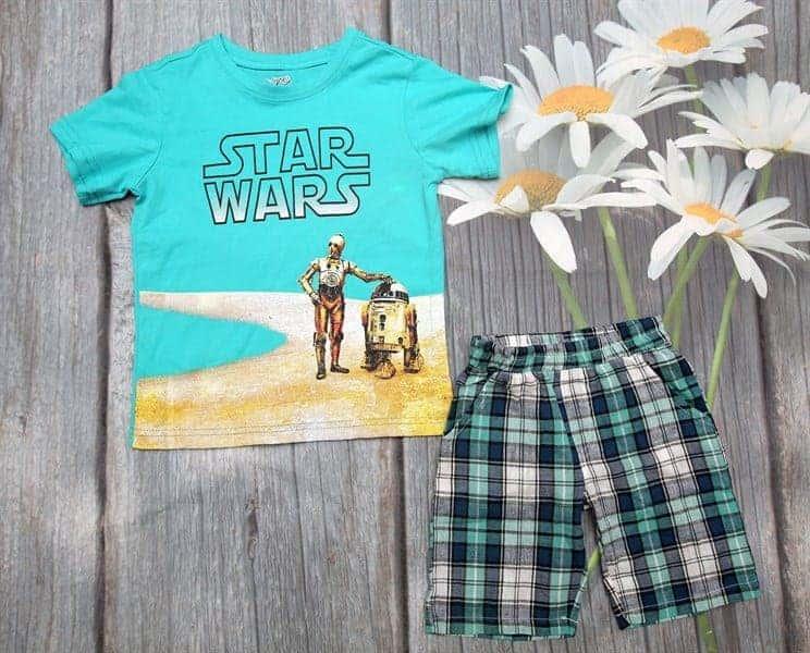 Bộ quần áo bé trai 2 tuổi màu xanh