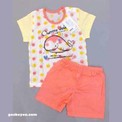 Bộ quần áo bé gái nhập khẩu Hàn Quốc họa tiết cá voi