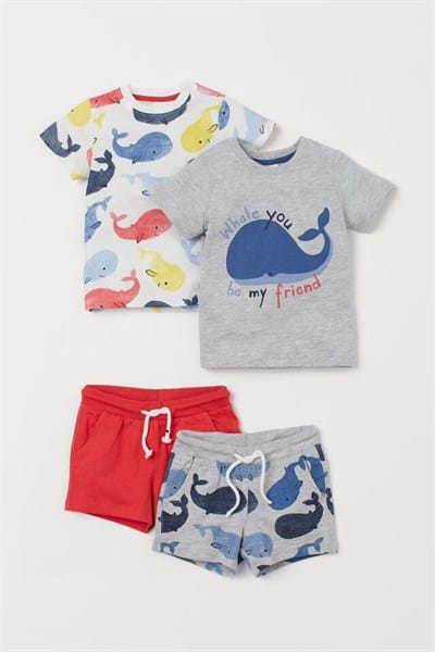 Bộ quần áo bé trai xuất khẩu họa tiết cá voi