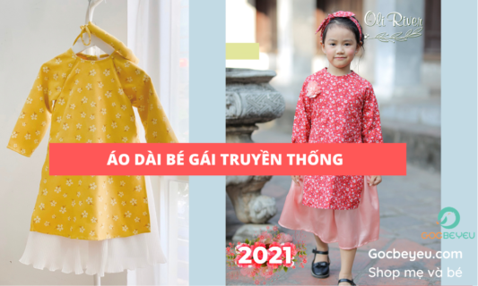 Áo dài truyền thống cho bé gái dịp Tết