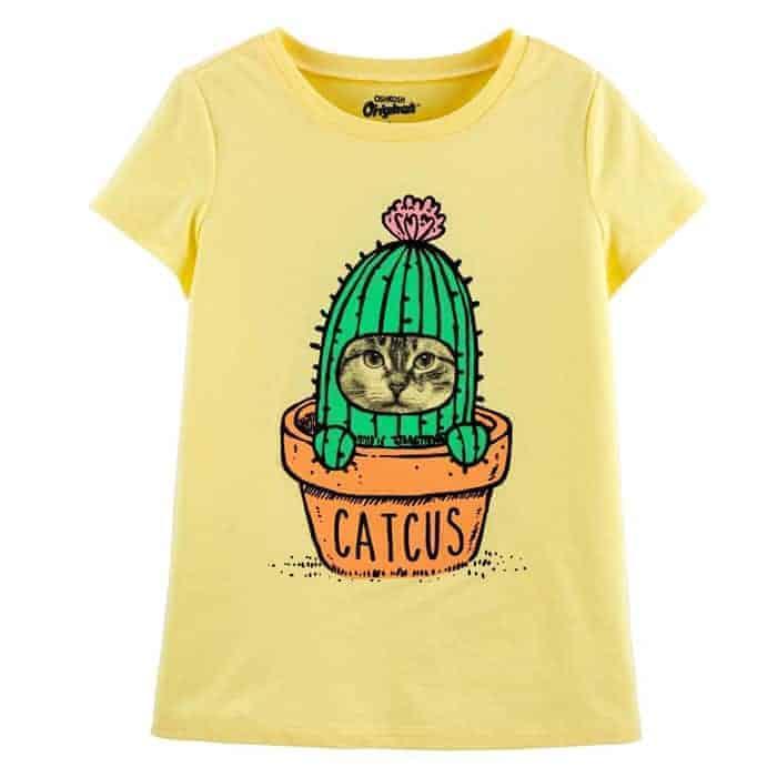 Áo thun bé gái họa tiết chú mèo ngộ nghĩnh